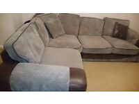 Grey corner sofa suede with brown leather From harveys.