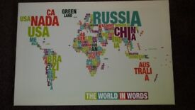 Framed new canvas world map medium
