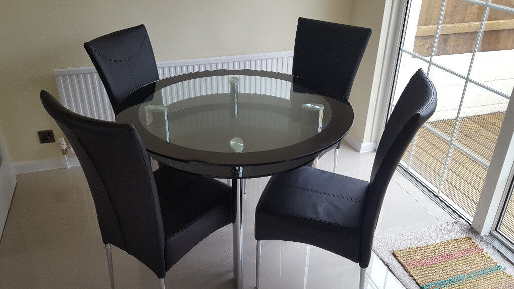 Glass Dining Table And 4 Chairs Plymouth
