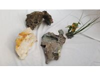Assorted Rocks and plastic plant for a Fish Tank