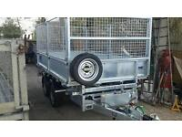 In stock now new m + e 10ftx 5.6ft tandem axle 3500kg caged tipping trailer