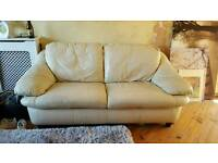 2 seater and 3 seater cream leather sofa