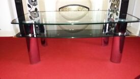 Large Coffee Table with smoked glass an crome legs in good condition.