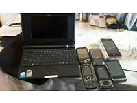 6 phones and laptop