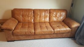 DFS Tan Leather 3 Seater Sofa