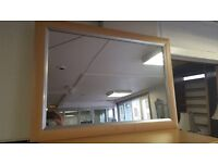 Modern Large Light Wood Mirror