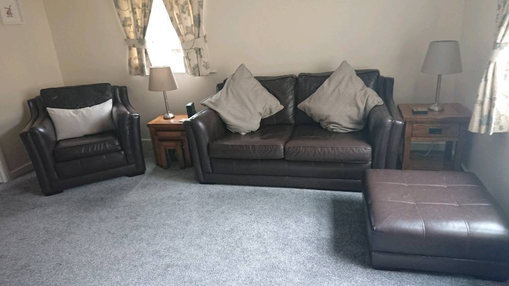 Wade Brown Leather Sofa, Chair and Footrest | in Hexham ...