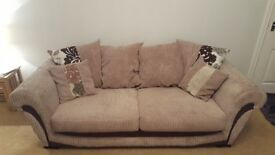 Large 3 seater sofa and matching snuggle twister chair