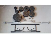 York Cast Iron 117kg Weights Set plus x2 Dumbbells plus x1 Barbell plus x1 Powerbar Chin Up Bar