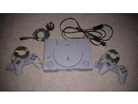 Sony PlayStation 1 lot -- console, cables, two controllers, and a few games!