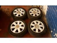 GENUINE AUDI 16 INCH ALLOY WHEELS SUPERB TYRES 5X100 VW GOLF BORA TT S3 POLO IBIZA