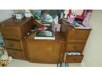 Dressing table with seat, vintage