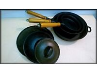 Cast-Iron Set of Skillet/Frying Pans