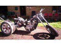 Trike project. Chopper trike suzuki 750 intruder v twin engine in yamaha frame