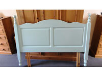 KING-SIZED wooden (pine - painted light blue) bed headboard