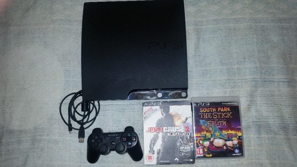 Playstation 3 Slim Upgraded to 500 Gigabytes Hard Drive With 2 Games & wireless Controller