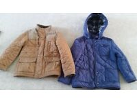 Two quilted lined coats age 5-6