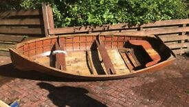 12 foot varnished clinker rowing boat