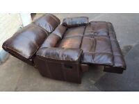 Brown recliner soft leather sofa. FREE delivery in Derby