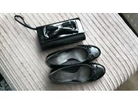 Clarks Black Paton Shoes size 5 and a half and a black paton small cutch bag.