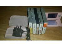 Nitendo ds lite with 5 games
