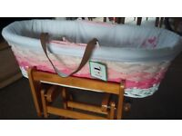 Nearly new: Mothercare moses basket and gliding stand