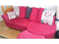 3 piece suite in cerise,cushion back with chaise long stool buyer must collect