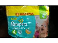 Pampers baby-dry 92 giga pack various sizes