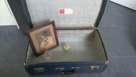 Vintage Suitcase and Vintage Photograph - Jade Trinket Box -Crystal Sherry Glass