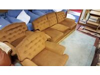 Fabric three Seater & 2 X Armchairs in Great Condition