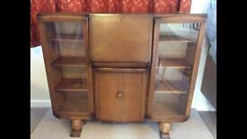Vintage character glazed sideboard with writing bureau