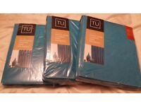 Teal Faux Silk Pencil Pleat Curtains 2 separate matching sets, Brand New