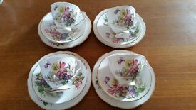 vintage bone China cups, saucers and teaplates