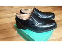 Men's Clarks Black Leather Shoes UK9/EU43