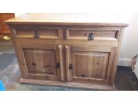 Solid pine sideboard - 2 Drawers and cupboard - width 114cm, depth 56.5cm, heightt 80cm