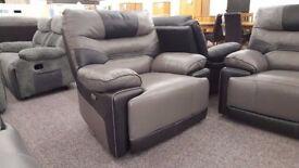 ScS Venus Grey & Black Leather Manual Recliner Armchair **CAN DELIVER**
