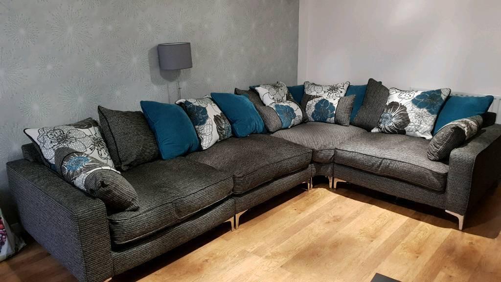 Sofology Pentagon Grey Corner Pillow Back Sofa With Fibre Filling