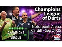 6xChampions league of darts tickets FULL TABLE Saturday afternoon 24th September Cardiff Motorpoint