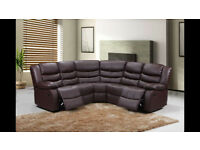VENIS LEATHER CORNER RECLINER SOFA WITH DRINKS HOLDERS