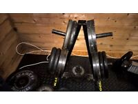Weights with storage rack and 7ft barbell