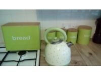 kettle, breadbin biscuit, tea, coffee and sugar cannisters