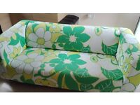 2.5 seater sofa, funky design, white, green and yellow, good condition,