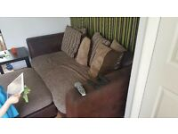 Comfortable brown sofa from dfs for sale with accessories