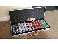 500 Piece Texas Poker Chip Set Dice Cards Casino Game Black with Aluminium Case