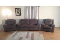 Montana grey saddle fabric electric 3 seater sofa, electric armchair and manual recliner armchair