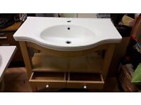 Offers considered- White Bathroom Sink + wooden stand
