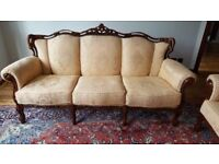 French Louis Style Sofas. 3 + 2 & Armchair in Great Condition