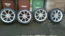 Bsa 8 spoke alloys set with 4 good tyres