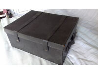 Leather covered document storage box. Straps and handles