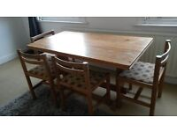 Vintage Retro 1970's Habitat Solid Pine Table and 4 chairs